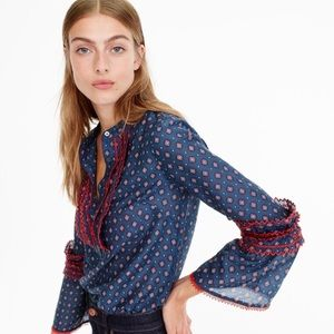 J. Crew Ludwig Embroidered Bell Sleeve Top